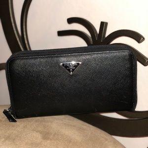 Black Prada Leather Wallet